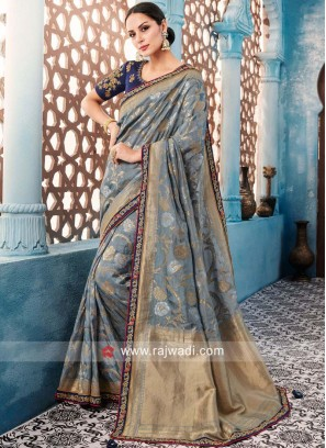 Grey Designer Banarasi Silk Saree
