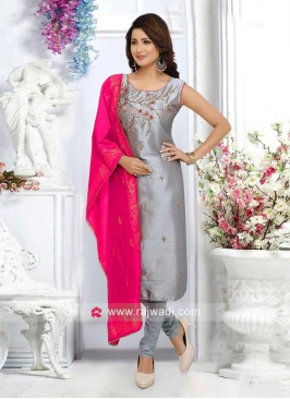 Grey Embroidered Churidar Suit