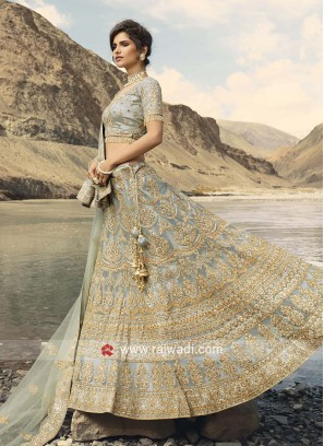 Grey Embroidered Lehenga Choli
