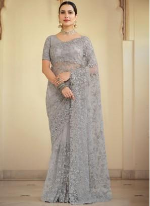 Grey Embroidered Net Contemporary Saree