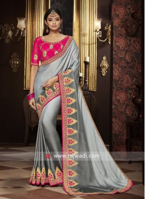Grey Embroidered Saree with Blouse