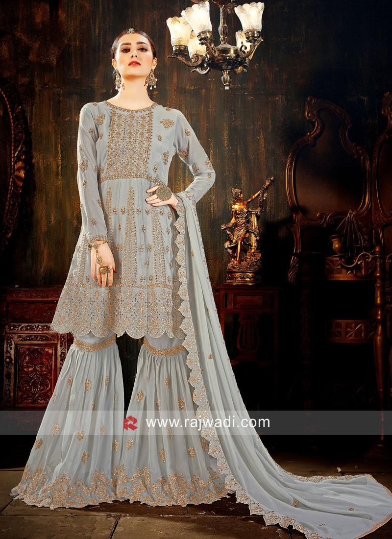 Grey Faux Georgette Gharara Suit