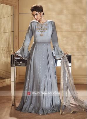 Grey Floor Length Anarkali Suit