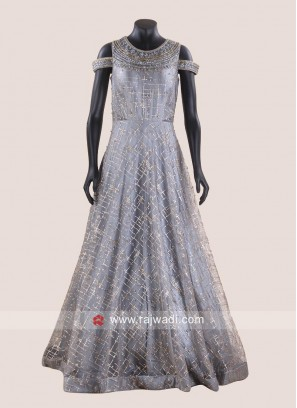 Grey Floor length Cold Shoulder Gown