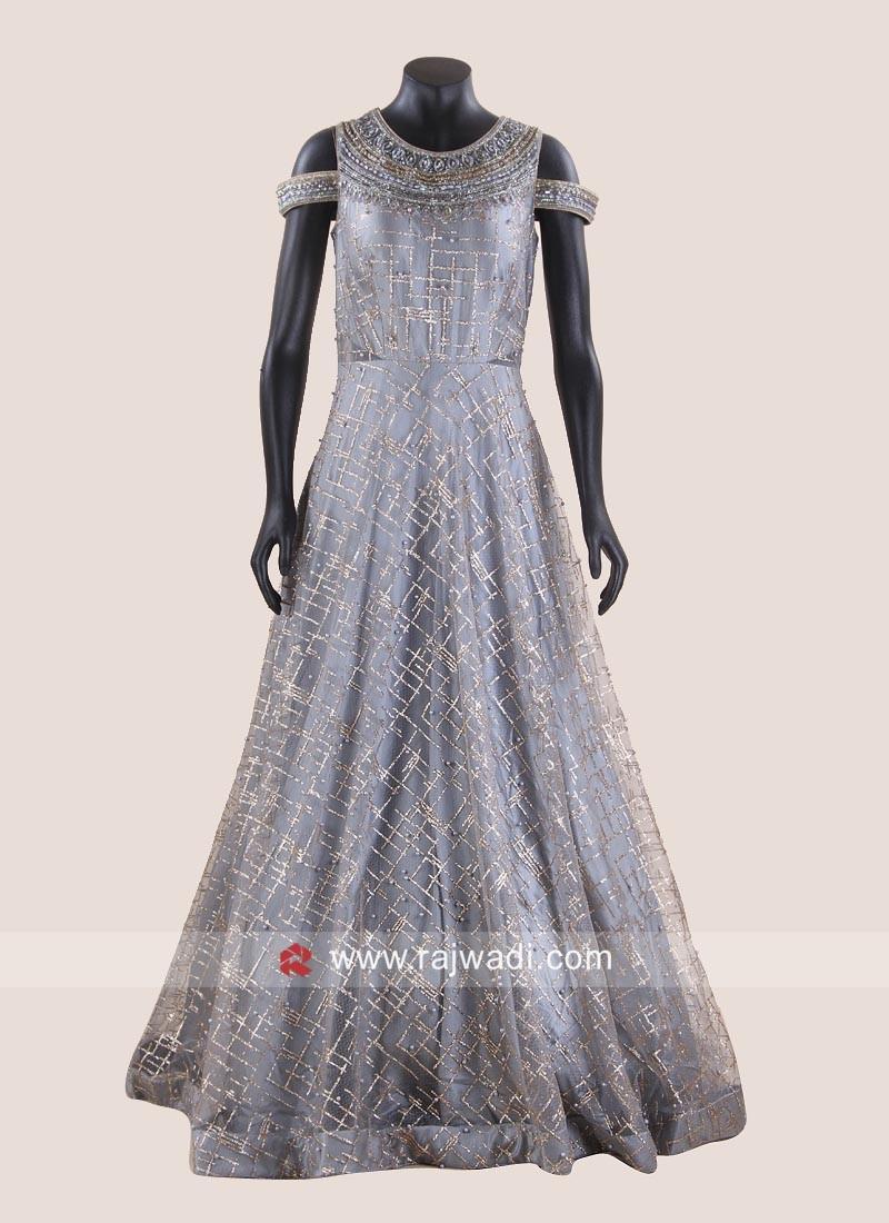 Grey Floor length Cold Shoulder Gown