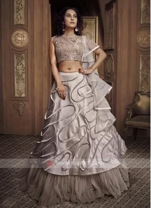 Grey Frilled Designer Lehenga Choli