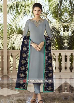 Grey Georgette Satin Eid Salwar Kameez