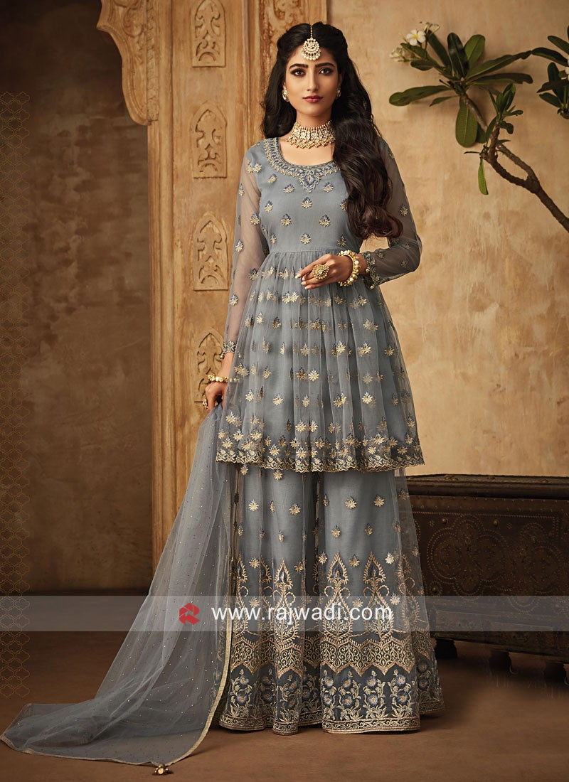 Grey Gharara Suit with Heavy Embroidery