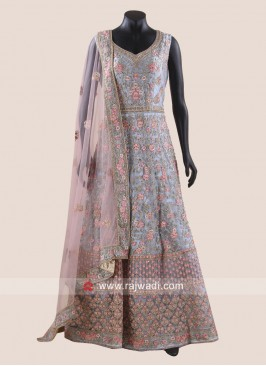 Grey Heavy Anarkali Suit with Peach Dupatta