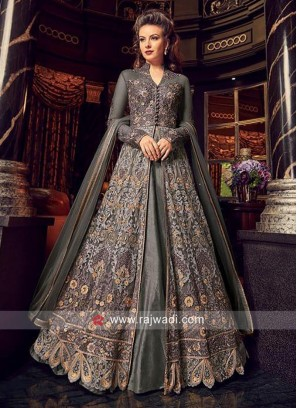 Grey Heavy Embroidered Front Open Slit Salwar Suit
