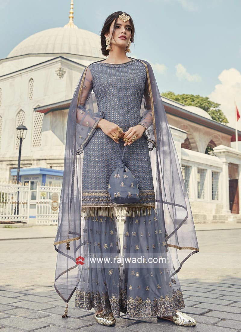 Grey Heavy Embroidery Salwar Suit