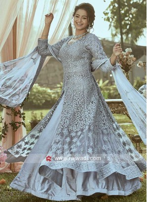 Grey Heavy Work Stitched Lehenga Set