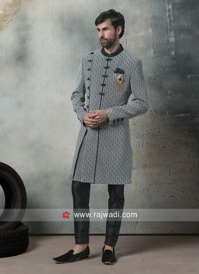 Grey Imported Fabric Indo Western