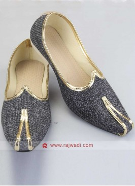 Grey Jute Fabric Mojari