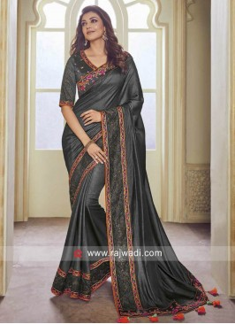 Grey Kajal Aggarwal Wedding Saree