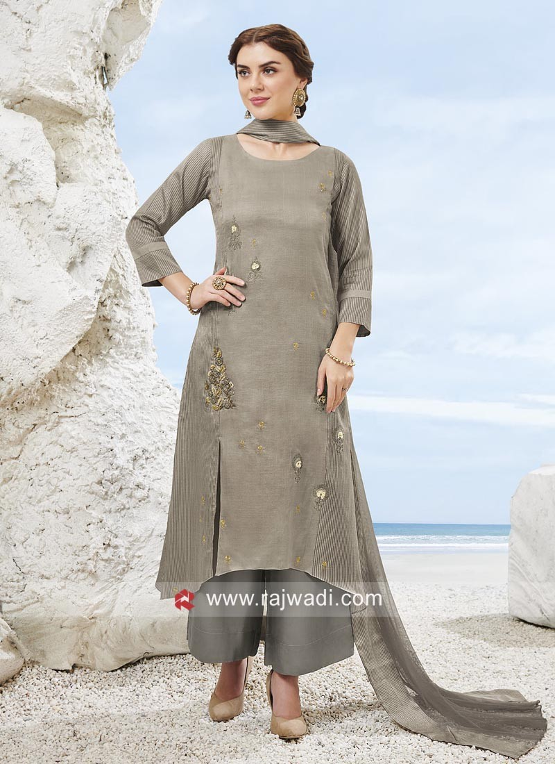 Grey Layered Palazzo Suit with Dupatta