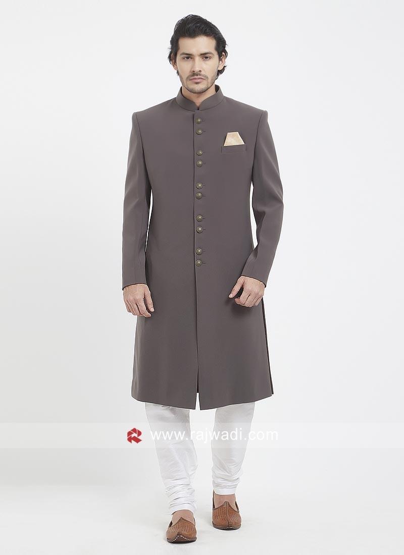 Grey Long Sleeve Nawabi Indo Western