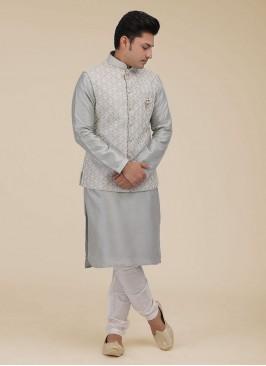 Grey Lucknowi Work Nehru Jacket Suit