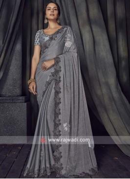 Grey Lycra Saree