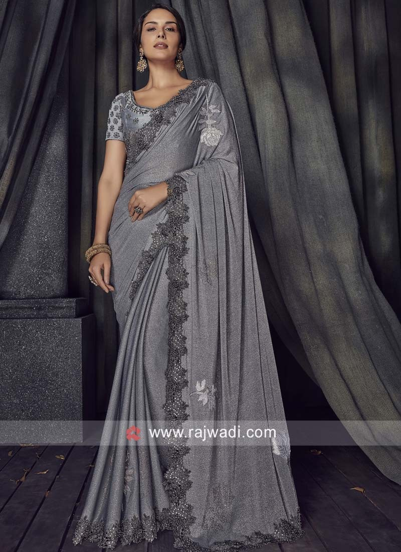 Grey Lycra Saree