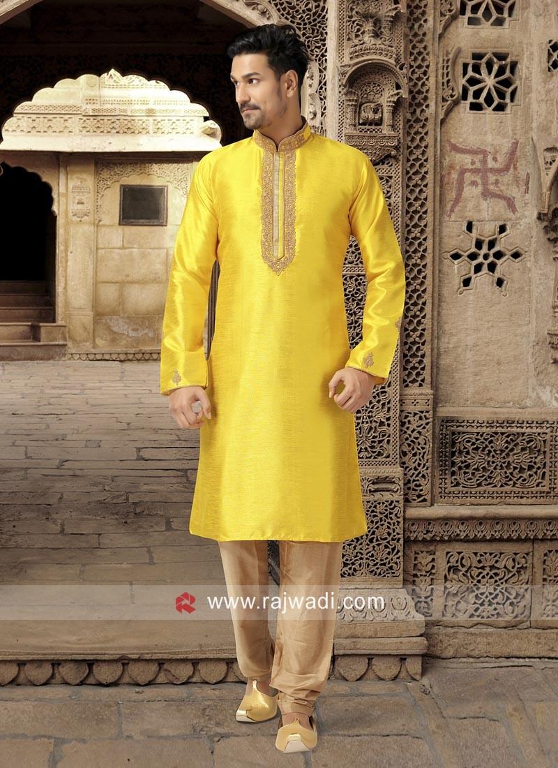 Yellow Mens Kurta Pajama