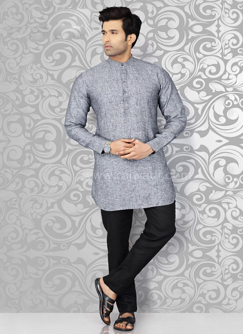 Grey Mens Kurta Pajama