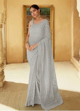 Grey Mirror Engagement Classic Designer Saree