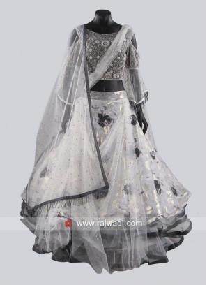 Grey Multi Layer Drape Lehenga Choli
