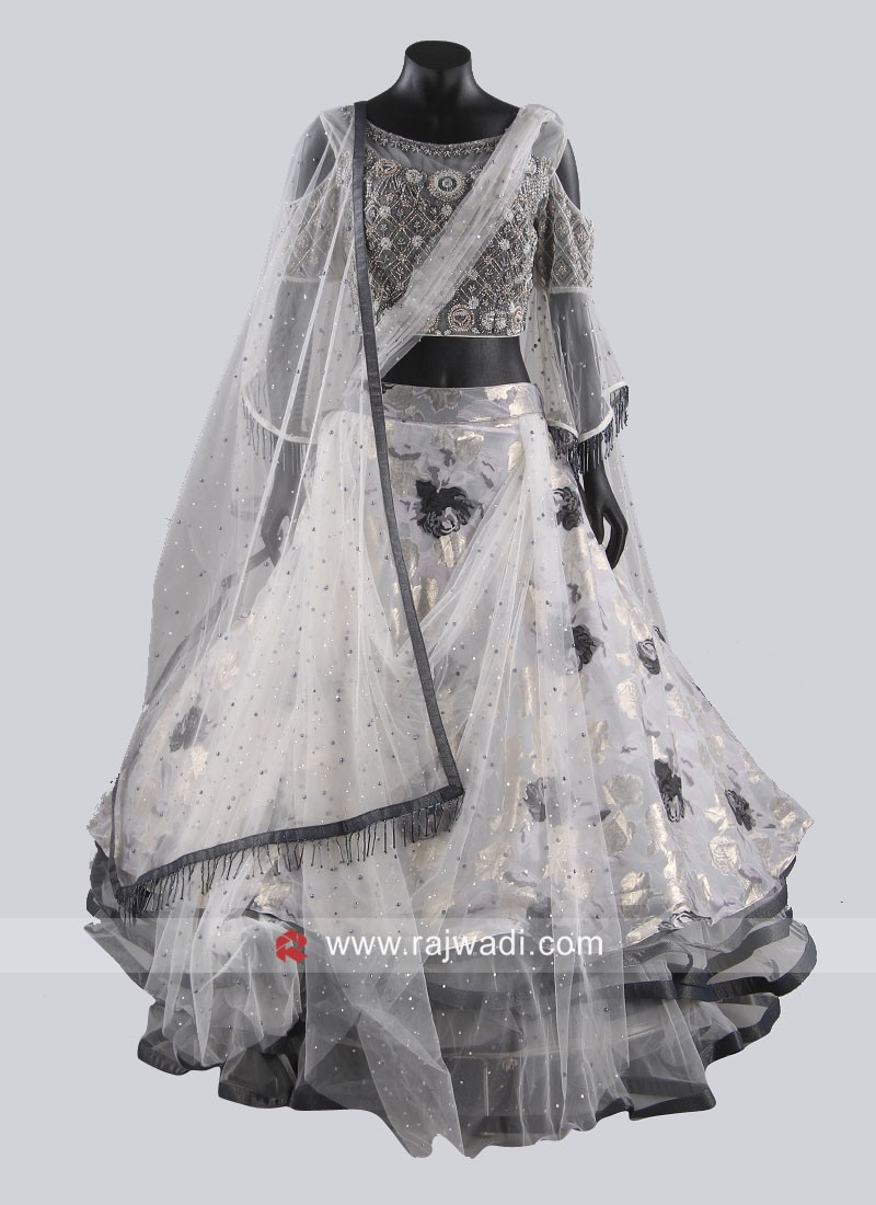 Grey Multi Layer Drape Lehenga Choli