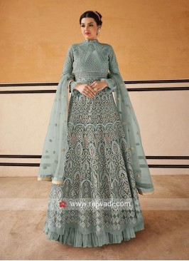 Grey Net Fabric Anarkali Salwar Kameez