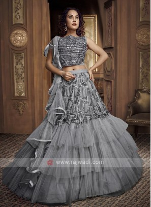 Grey Net Frilled Designer Lehenga Choli