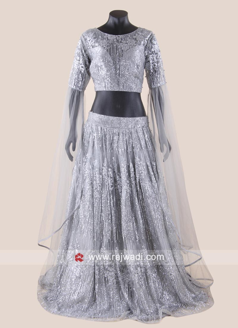 Grey Net Glitter Work Lehenga Choli