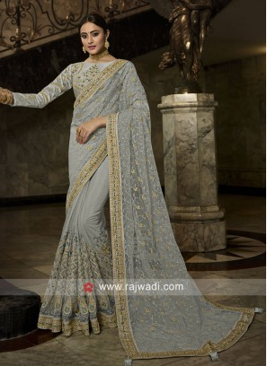 Grey Net Saree with Border