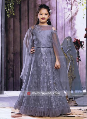 Grey Net Silk Girls Choli Suit