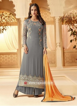 Grey Palazzo Suit with Dupatta for Wedding