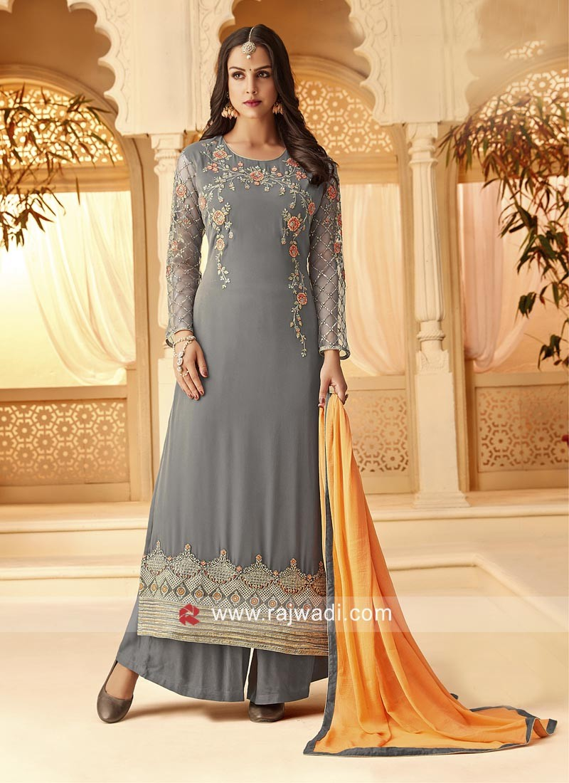 Grey Palazzo Suit with Dupatta for Eid