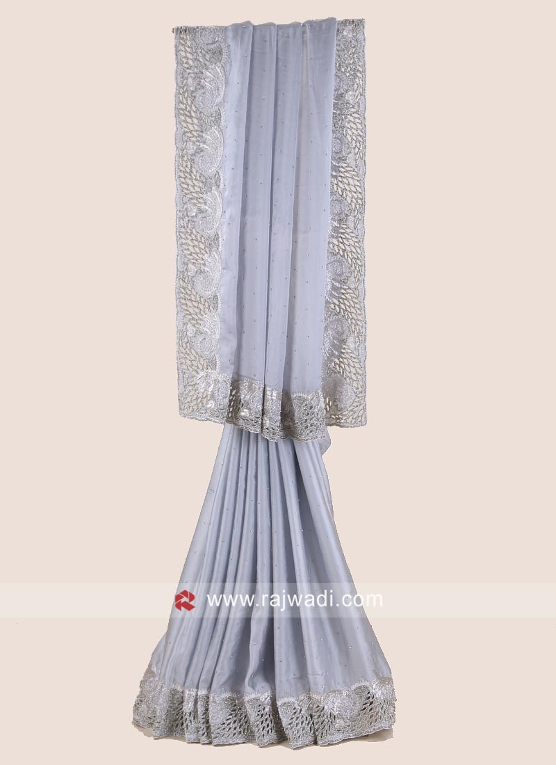 Grey Party Wear Satin Silk Saree