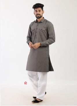 Grey Pathani Suit