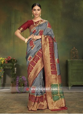 Grey Patola Silk Saree