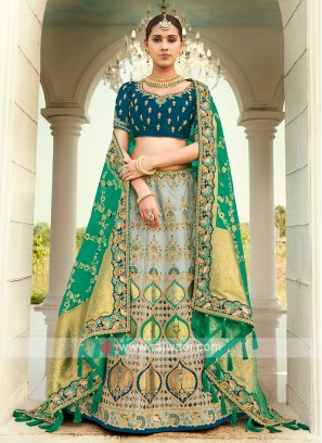 Grey & Peacock Blue Silk Lehenga Choli