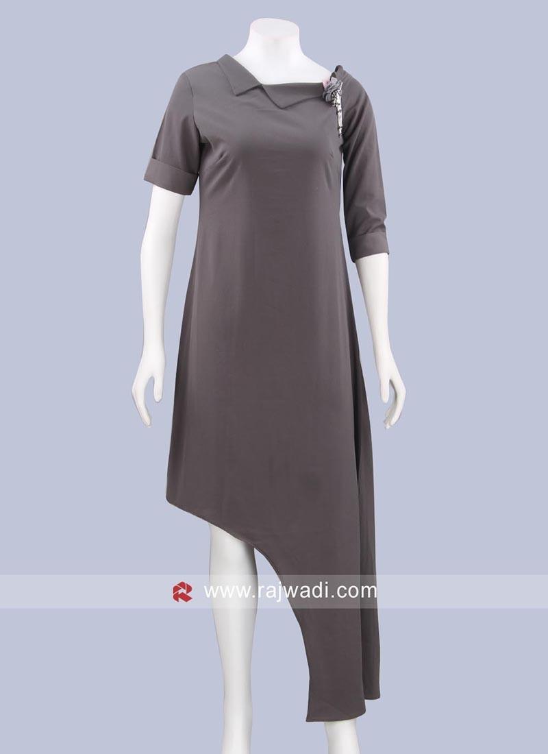 Grey Plain Midi Dress