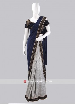 Grey Pre Stitched Saree with Border