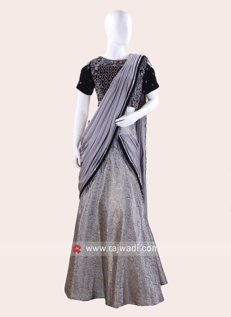 Grey Pre Stitched Saree with Ready Choli
