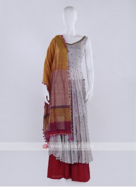 Grey & Rani color Palazzo Suit with dupatta