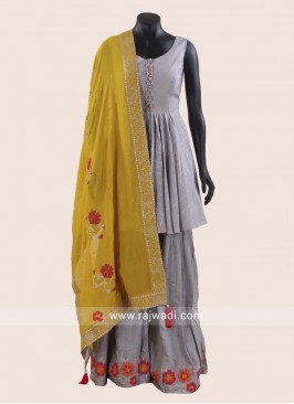 Grey Rayon Silk Gharara Suit for Eid