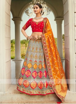 Grey & Red Silk Lehenga Choli