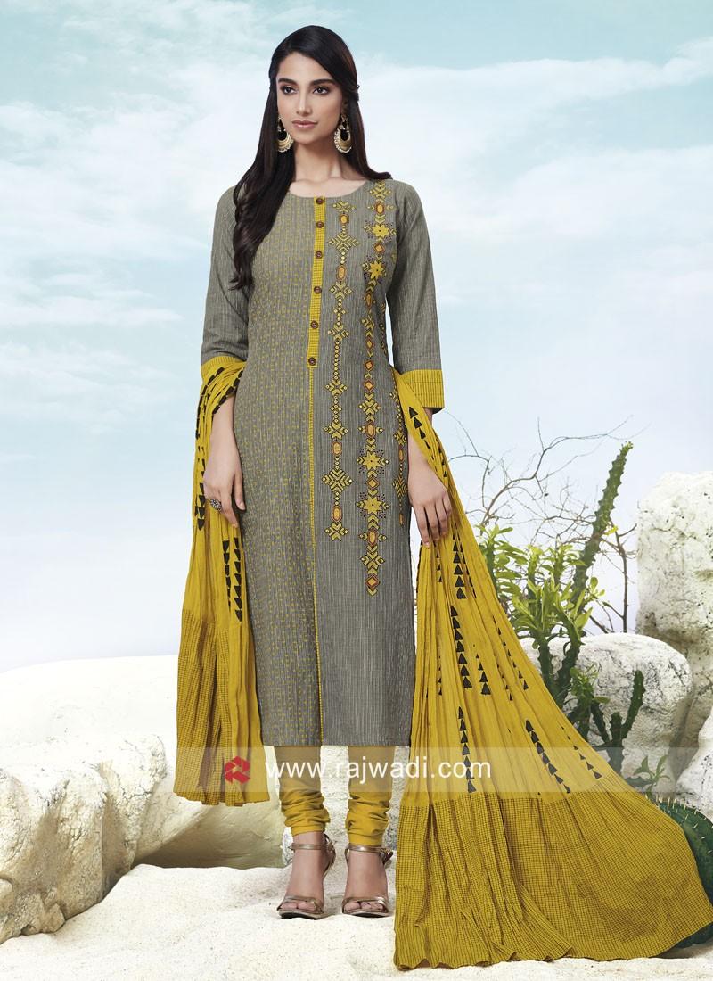 Grey Resham Work Churidar Suit