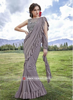 Grey Saree in Lycra Material