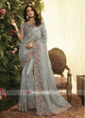 Grey Saree with Flower Work Border