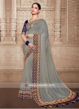 Grey saree with navy blue blouse